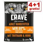 4 + 1 gratis! 5 x 1 kg Crave Adult alimento secco