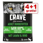 4 + 1 gratis! 5 x 1 kg Crave Adult Dog Miel & Vită