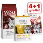4 + 1 gratis! 5 x 1 kg Wolf of Wilderness Trockenfutter Mix