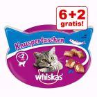 6 + 2 gratis! 8 x Snack Whiskas per gatti