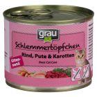 Grau Kitten Bliksmulpotjes met Rund, Kalkoen & Wortel Kattenvoer