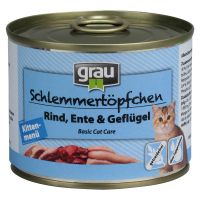Grau Kitten menu gourmand bœuf, canard, volaille pour chaton