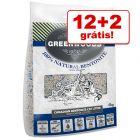 Greenwoods Bentonite areia aglomerante de bentonita para gatos 14 kg: 12 kg + 2 kg grátis!