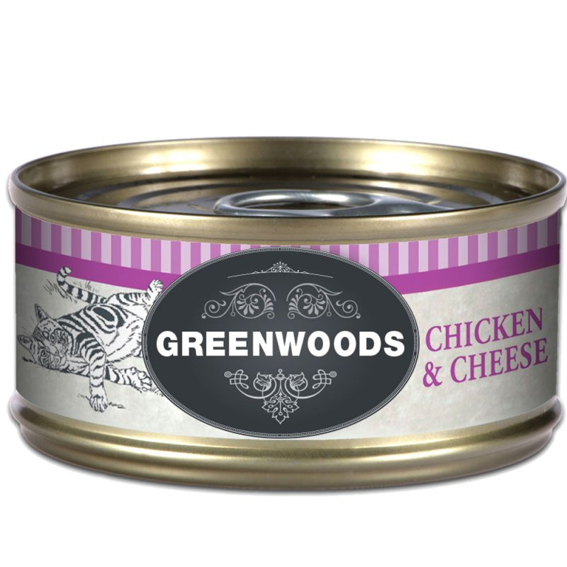 Greenwoods Hypoallergenic pollo y queso latas para gatos
