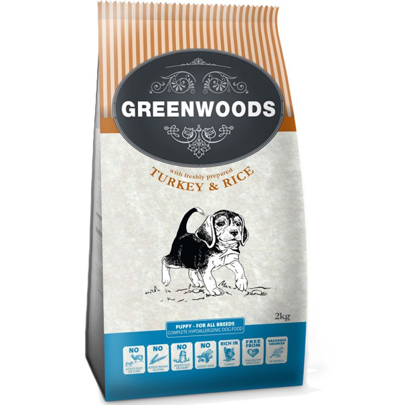 Greenwoods Naturally Hypoallergenic Puppy pavo y arroz