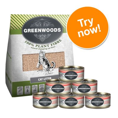 Greenwoods Trial Pack II - 6 x 70g Wet Cat Food + 8l Litter*