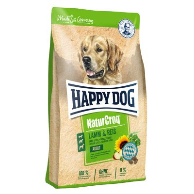 Happy Dog NaturCroq jagnjetina in riž hrana za pse ugodno v zoohit
