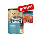 Happy Dog Pure, 24 x 400 g + Rocco Chings Originals, filet z kurczaka w paskach, 250 g gratis!