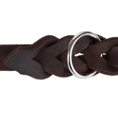 Heim Plaited Leather Double Dog Lead - Brown