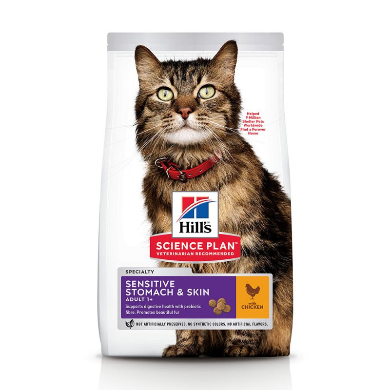 Hill's Adult Sensitive Stomach & Skin con pollo pienso para gatos
