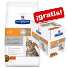 Hill's k/d Prescription Diet 10 kg pienso + 12 sobres ¡gratis!