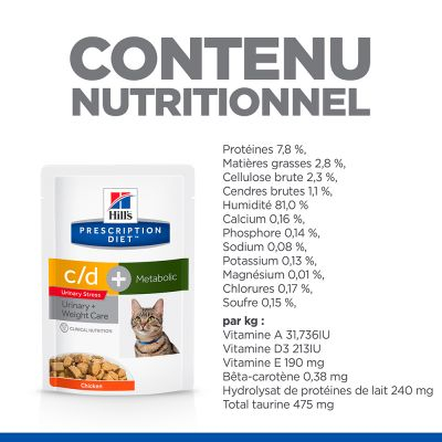 Hill's Prescription Diet c/d Urinary Stress + Metabolic poulet pour chat