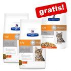 Hill's Prescription Diet k/d pour chat 2 x 5 kg + sachets fraîcheur 12 x 85 g offerts !