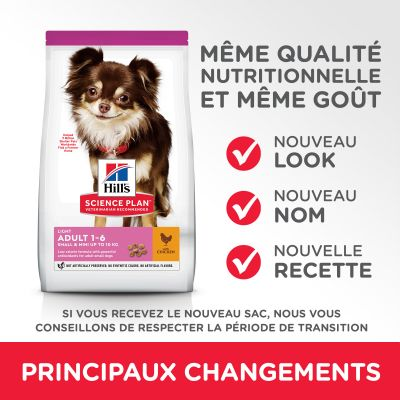 Hill's Science Plan Adult 1-6 Light Small & Mini poulet pour chien