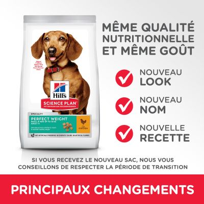 Hill's Science Plan Adult 1+ Perfect Weight Small & Mini poulet pour chien
