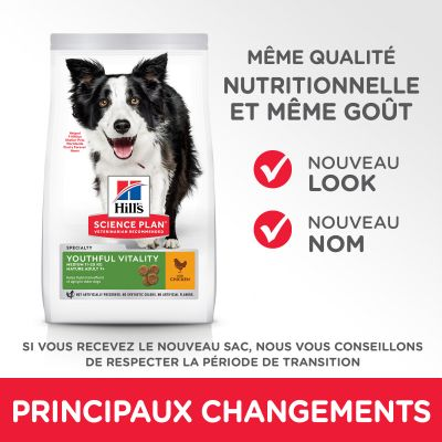 Hill's Science Plan Adult 7+ Youthful Vitality Medium Breed poulet, riz pour chien