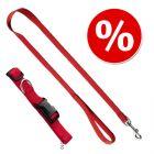 HUNTER Ecco Sport halsband + koppel, rött