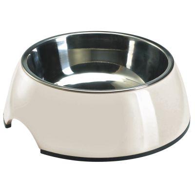 Hundenapf aus Melamin weiß, mit Edelstahl-Inlet günstig bei zooplus