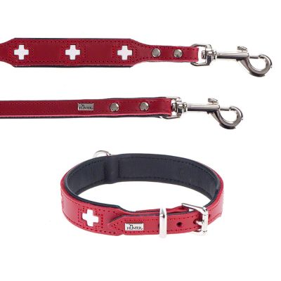 HUNTER Set: Halsband Swiss + Hundeleine Swiss