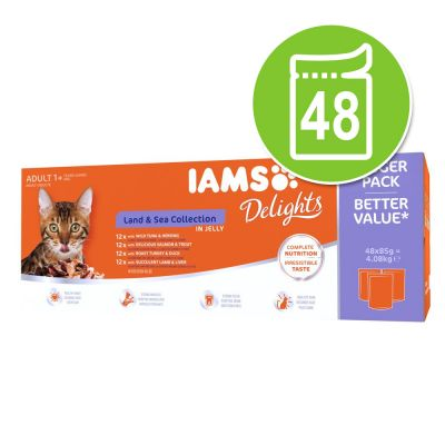 IAMS Delights Adult Land & Sea Kattenvoer 48 x 85 g