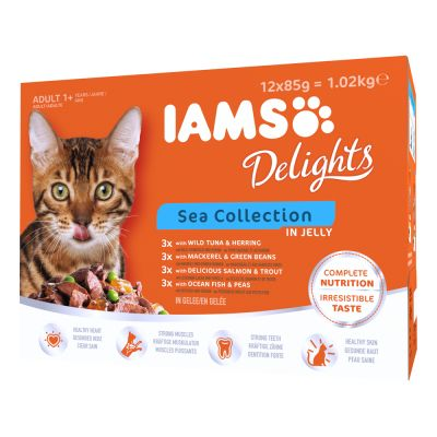 IAMS Delights Collectie in Gelei Kattenvoer 12 x 85 g