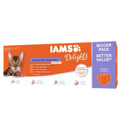 IAMS Delights Adult Terre & Mer 48 x 85 g pour chat