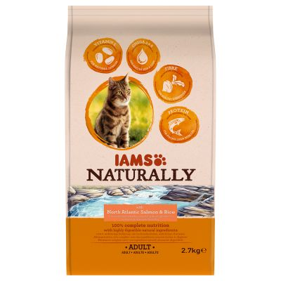 IAMS Naturally Cat Adult, saumon pour chat