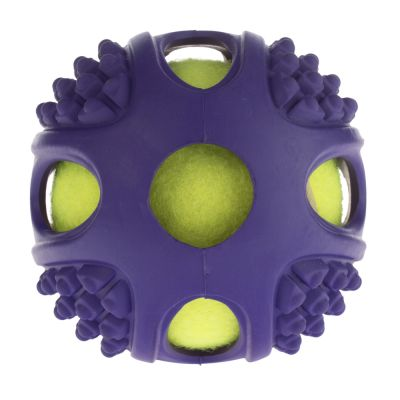 2-in-1 Rubber Tennis Ball Dog Toy