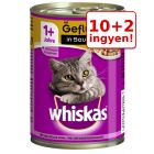 10 + 2 ingyen! 12 x 400 g Whiskas 1+ konzervek