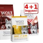 4 + 1 ingyen! 5 x 1 kg Wolf of Wilderness száraztáp-mix