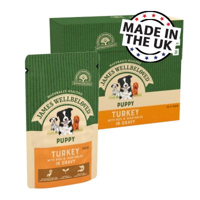 James Wellbeloved Puppy & Junior Pouches - Turkey with Rice