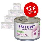 Kattovit Sensitive 12 x 185 g en latas para gatos - Pack Ahorro