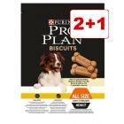 2 + 1 kaupan päälle! Pro Plan Biscuits Light tai Dental Bar -koiranherkut