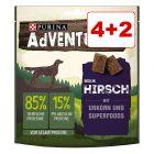4 + 2 kaupan päälle! 6 x 90 g AdVENTuROS-koiranherkut