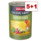 5 + 1 kaupan päälle! 6 x 400 g Animonda GranCarno Adult Superfoods