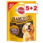 5 + 2 kaupan päälle!  7 x 70 g Pedigree Ranchos -koiranherkut