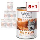 5 + 1 kaupan päälle! 6 x 400 g Wolf of Wilderness -koiranruokaa