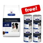10kg Hill's Prescription Diet Food Sensitivities + 4 x 370g Wet Food Free!*