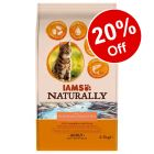 2.7kg IAMS Naturally Cat Adult Dry Food - 20% Off!*