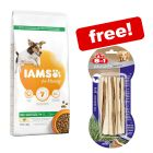 12kg IAMS Vitality Dry Dog Food + 8in1 Delights Chew Sticks - Beef Free!*