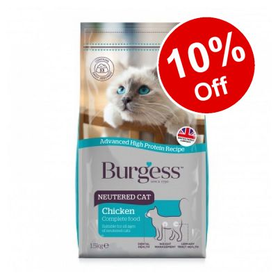 10kg Burgess Neutered Cat Dry Cat Food - 10% Off!*