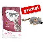 3 kg Concept for Life Hrană pisici + Trixie Șoricel de pluș cu iarba mâței Gratis