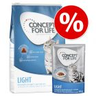 3 kg Concept for Life Light + 12 x 85 g våtfoder till kanonpris!