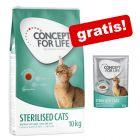 10 / 9 kg Concept for Life tørfoder + 12 x 85 g vådfoder i sauce gratis!