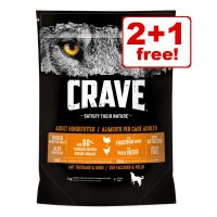 1kg Crave Adult Dry Dog Food - 2 + 1 Free!*