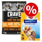 1kg Crave Adult Dry Dog Food + 28x Pedigree Dentastix L - Special Price!*