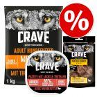 1 kg Crave Adult Hundefutter + 300 g Adult Pastete + 55 g / 75 g Snacks zum Sonderpreis!