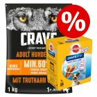 1kg Crave Tørrfôr + Dentastix små hunder til spesialpris!