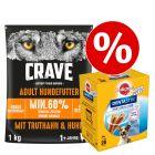 1 kg Crave-kuivaruoka + Dentastix pienille koirille erikoishintaan!