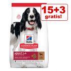 15 + 3 kg gratis! 18 kg Hill's Science Plan hrană uscată pentru câini